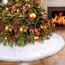 90cm Christmas Tree Skirt Base Floor Mat Cover Decor Long Plush Snow Flake