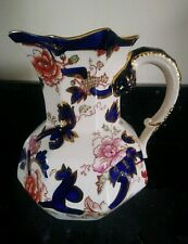 Large Masons Ironstone Blue Mandalay Jug 17 cm Tall