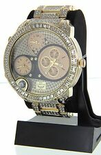 NY LONDON Men Hip Hop Iced Out Lab Diamond Rapper Luxury 3 Time Zone Watch