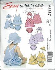 M 5367 sewing pattern Infants' DRESS cute Dresses PANTIES HAT sew sizes S,M,L,XL