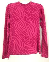 Reebok Womens Running Shirt Pink Geometric Athletic Long Sleeve Size Medium