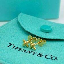 Auth Tiffany & Co. K18 Yellow Gold Signature Cross X Stud Earrings w/BOX *DHL*