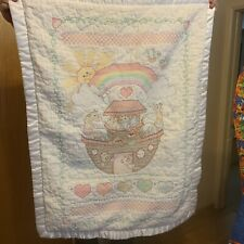 Vintage Noah's Ark cross stitch BABY BLANKET white crib throw handmade quilt