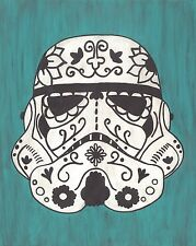 Storm Trooper Day of the Dead print 8X10, Comic character and Pop Art