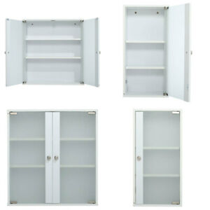 Home Office Wall Cabinet Storage MDF Cupboard Frosted Glass 2 Shelves Cupboards