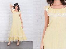 Vintage 70s Yellow Maxi Dress Cotton Gauze A Line Lace Boho Small S