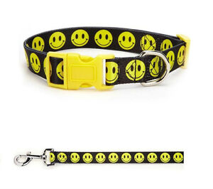 SMILEY FACE Dog Collar & Lead Sets Cute Yellow Black Happy Dogs Walking XSMALL