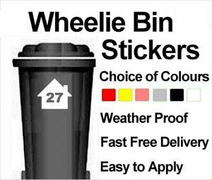 Wheelie Bin Custom Vinyl Decals Stickers - House Picture Number - Set of 4