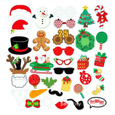35PCS Christmas Photo Booth Props Xmas Party Selfie Game Instagram Santa Claus