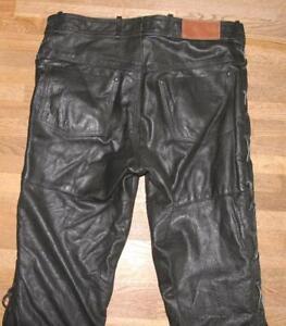 """ Louis Arizona "" Lace-Up Leather Jeans / Biker Trousers Black Approx. W36 ""/"