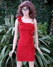 Quiz, Red One Shoulder, Ruched Taffera Dress, Size 6,