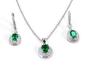 1920s Style 925 Sterling Silver Set Simulated Emeralds Brilliant White Diamonds