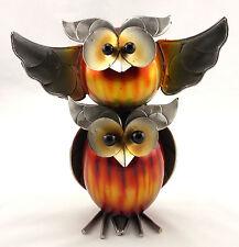 Owl Who Macho Pair Metal Bird Statue Sculpture Ornament Home & Garden Décor 24cm
