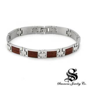 SIMMONS New Gentlemens Bracelet Crafted in Stainless steel and Brown Wood.