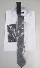 NEU sportl. Herren Kurzarm Hemd weiß + Krawate+Tuch Kentkragen grau Gr. 39/40  M