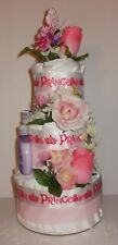 3 Tier Girls Pink Roses Floral Diaper Cake Baby Shower Centerpiece Gift