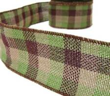 Earthtones Brown Green Beige Plaid Country Rustic Primitive Burlap Wired Ribbon