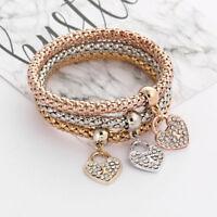 Women 3Pcs Set Gold/Silver/Rose Gold Rhinestone Bracelets Bangle Fashion Jewelry