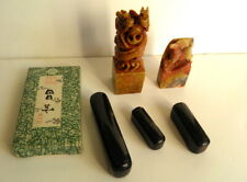 Vintage lot of Asian Carved Soap Stone Chop Seals and Slate Block