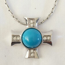 New Blue Silvertone Holly Cross Charm Pendant Turquoise Chain Necklace NE1293A