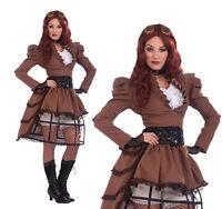 Ladies Sexy Steampunk Vicky Hoop Skirt Fancy Dress Costume Victorian UK 10-14