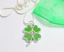Green Four 4 Leaf Clover Lucky Charm Necklace 18 inch Snake Chain Gift Bag Irish
