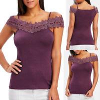 Fashion Women Cold Shoulder Slim Fit T-shirt Casual Tops Lace Applique Camisole