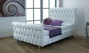 New Chesterfield Parma Plush Velvet Upholstered Bed 3ft,4ft, 4ft6, 5ft, 6ft