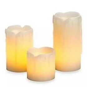 3PC FLICKERING CANDLES FLAME LESS REAL WAX DRIPPING EFFECT WITH BATTERIES 41280C