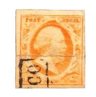 Netherlands Scott 3 (1852) Used H Nice Margins, CV $130.00