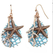 NAUTICAL UNDER THE SEA STARFISH AND CRYSTAL CORRAL DANGLE EARRINGS