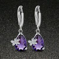 Newest Mystical Purple Amethyst Gemstone Silver Dangle Hook Earrings Jewelry