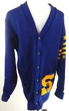 Whiting Men's Large Vintage Letterman Sweater Cardigan S Navy Patches Pins EUC