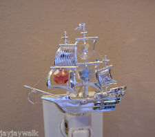 "SWAROVSKI COLORED CRYSTAL ELEMENTS ""MAYFLOWER SHIP""  NIGHT LIGHT SILVER PLATED"