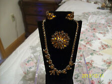 Weiss Signed Necklace, Brooch & Earrings Vintage Amber/Brown Marquise Design