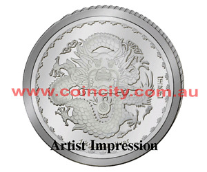 2012 $1 Year of the Dragon 1oz Silver Prooflike Coin