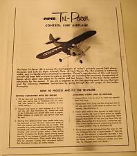 Comet Piper Tri-Pacer Control Line Airplane Photocopy Instruction Sheet