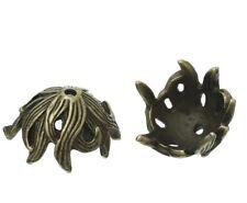 20 x Antique Bronze Alloy Beads Caps Flower (Fits 16mm Beads) 17mm x 15mm