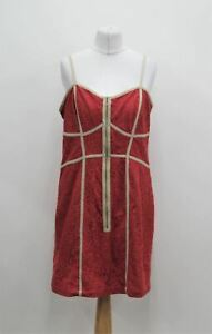 LIMITED Ladies Strawberry Red Floral Lace Strappy Zip Front Slip Dress UK14 BNWT