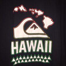 Quicksilver Hawaii Men's XL Extra Large Black Graphic T-Shirt Surf 100% Cotton