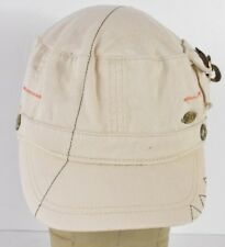 Beige ROXY Brand Surf Co Logo Embroidered Combat Cadet Hat Cap Zipper Adjust