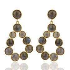 Natural Labradorite Gemstone 925 Silver Gold Plated Handmade Dangle Earrings
