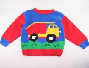 Boys ZACKALI 4 KIDS cotton boutique sweater 5 6 dump truck primary colors red