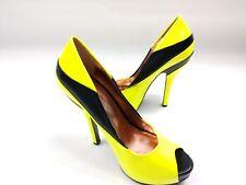 c5abc4e31a BCBG Generation Liberty Peep Toe High Heel Shoes Neon Green/Yell Black  Womens 8B