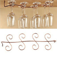 6/8 Wine Glass Rack Stemware Hanging Under Cabinet Holder Bar Kitchen Screws GG