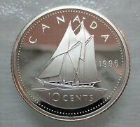 1996 CANADA 10 CENTS PROOF SILVER DIME HEAVY CAMEO COIN