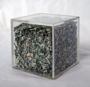 "Vintage 2.5"" Lucite Cube Filled w/ Real Shredded United States Currency US Money"