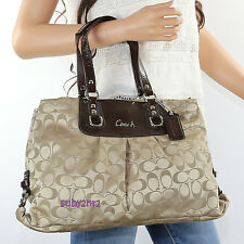NWT Coach Ashley Signature Carryall Shoulder Bag F15510 Khaki Mahogany Brown NEW