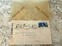 Vintage Postage Envelope 1942 - Examined to New York City - Rare Marks/Stamps