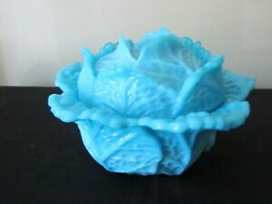 PORTIEUX VALLERYSHTAL BLUE OPALINE CABBAGE COVERED DISH FRANCE AS FOUND